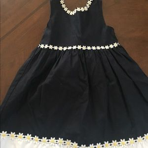 Girls cotton/linen navy sundress with flowers